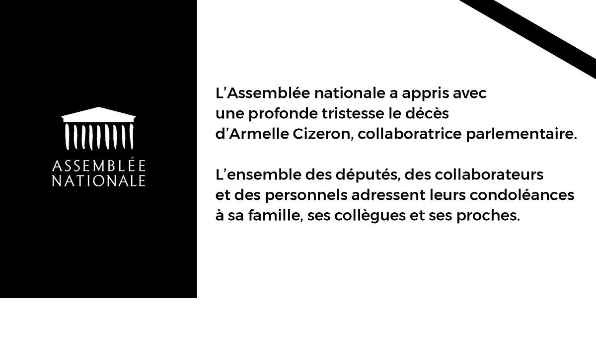 Décès de Mme Armelle CIZERON, collaboratrice de députée à l'Assemblée nationale