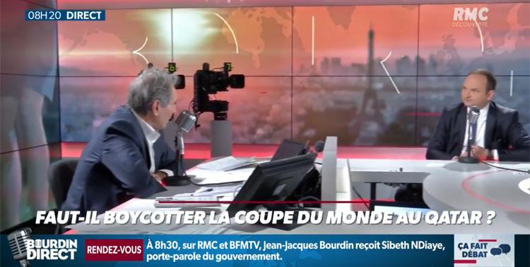 « L'équipe de France de football ne doit pas aller au Qatar en 2022 » : invité de Jean-Jacques Bourdin sur RMC suite à ma tribune dans Le Monde