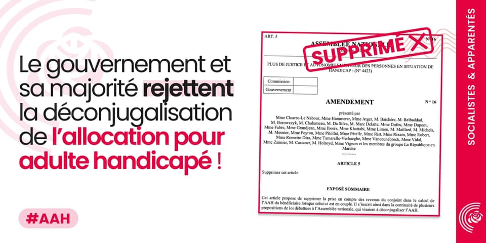 Déconjugalisation de l'Allocation Adulte Handicapé (AAH) : honte à la majorité En Marche qui rejette le texte en séance
